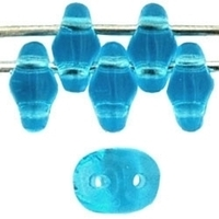 Image Seed Beads Czech SuperDuo 2 x 5mm aquamarine transparent