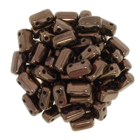 Seed Beads CzechMate Brick 3 x 6mm dark bronze metallic
