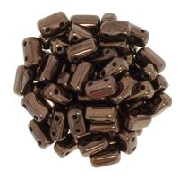 Image Seed Beads CzechMate Brick 3 x 6mm dark bronze metallic