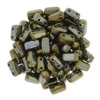 Image Seed Beads CzechMate Brick 3 x 6mm brown iris iridescent