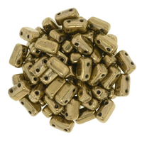 Seed Beads CzechMate Brick 3 x 6mm bronze metallic