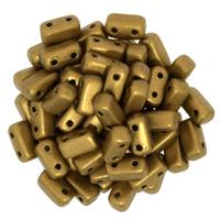 Image Seed Beads CzechMate Brick 3 x 6mm Goldenrod matte metallic