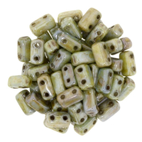 Image Seed Beads CzechMate Brick 3 x 6mm green opaque luster