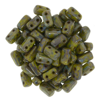 Image Seed Beads CzechMate Brick 3 x 6mm olive opaque picasso