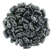 CzechMate Bar Seed Beads - Hematite - Metallic Iridescent Finish   2 x 6mm 2 Hole CzechMate Bars