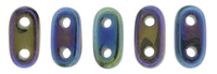Image Seed Beads CzechMate Bar 2 x 6mm blue iris metallic iridescent
