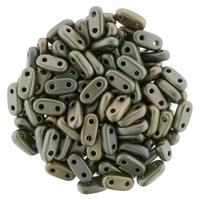 CzechMate Bar Seed Beads - Leather - Matte Metallic Finish   2 x 6mm 2 Hole CzechMate Bars