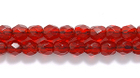Czech Pressed Glass 3mm faceted round garnet red transparent