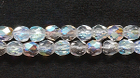 Czech Pressed Glass 3mm faceted round crystal ab transparent iridescent