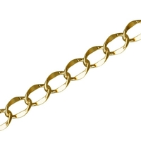 6mm gold plate hammered curb Chain