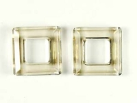Image Swarovski Crystal Beads 14mm square ring (4439) crystal silver shade transparent