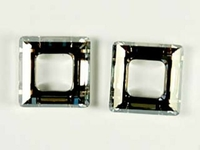 Swarovski Crystal Beads 14mm square ring (4439) crystal silver shade CAL silver 1/2 coat