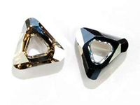 Image Swarovski Closeouts 14mm cosmic triangle (4737) golden shadow CAL silver 1/2 coa