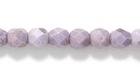 Czech Pressed Glass 4mm faceted round purple picasso opaque