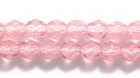 Czech Pressed Glass 4mm faceted round opal pink opalescent