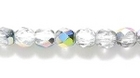 Czech Pressed Glass 4mm faceted round vitrail transparent iridescent