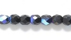Czech Pressed Glass 4mm faceted round black ab opaque iridescent
