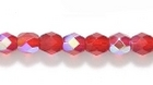 Czech Pressed Glass 4mm faceted round ruby red ab transparent iridescent