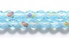 Czech Pressed Glass 4mm faceted round light aqua blue ab transparent iridescent