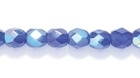 Czech Pressed Glass 4mm faceted round cobalt blue ab transparent iridescent