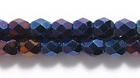Czech Pressed Glass 4mm faceted round blue opaque iridescent