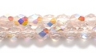 Czech Pressed Glass 4mm faceted round peachy pink ab transparent iridescent