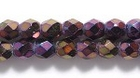 Czech Pressed Glass 4mm faceted round purple opaque iridescent