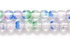Czech Pressed Glass 4mm round crystal w/red, blue & green stripes transparent