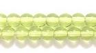 Czech Pressed Glass 4mm round peridot green transparent