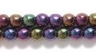 Czech Pressed Glass 4mm round purple opaque iridescent