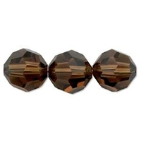 Swarovski Crystal Beads 6mm round (5000) smoked topaz (dark brown) transparent