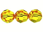 Swarovski Crystal Beads 6mm round (5000) sunflower (yellow) transparent