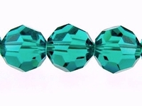 Swarovski Crystal Beads 6mm round (5000) blue zircon (blue green) transparent