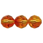 Swarovski Crystal Beads 8mm round (5000) fire opal (red & orange) transparent