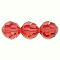 Swarovski Crystal Beads 8mm round (5000) padparadscha (bright peachy pink) transparent