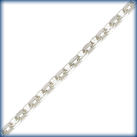 sterling silver flat drawn link cable Chain 1.5mm wide