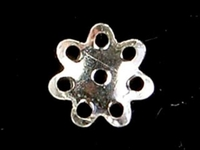 sterling silver 6.5mm flower bead cap silver