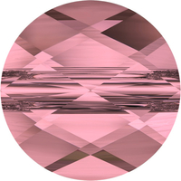 Swarovski Crystal Beads 6mm faceted flat round (5052) crystal antique pink transparent