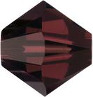 Swarovski Crystal Beads 5mm bicone (5301 and 5328) burgundy (wine red) transparent