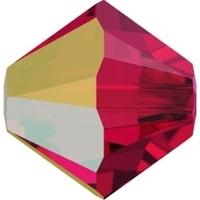 Image Swarovski Crystal Beads 4mm bicone 5328 scarlet ab transparent iridescent