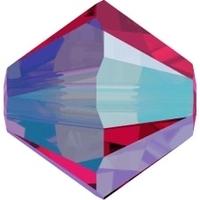 Image Swarovski Crystal Beads 4mm bicone 5328 scarlet ab 2X transparent double iridesc