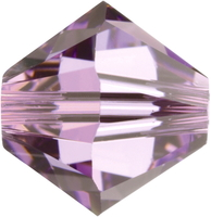 Swarovski Crystal Beads 4mm bicone (5301 and 5328) light amethyst (light purple) transparent
