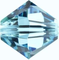 Swarovski Crystal Beads 4mm bicone 5328 aquamarine (aqua blue) transparent