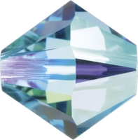 Swarovski Crystal Beads 4mm bicone 5328 aquamarine ab (aqua blue) transparent iridescent