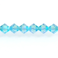 Image Swarovski Crystal Beads 4mm bicone 5328 aquamarine ab 2X (aqua blue) transparent