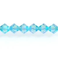 Swarovski Crystal Beads 4mm bicone 5328 aquamarine ab 2X (aqua blue) transparent double iridescent