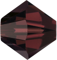 Image Swarovski Crystal Beads 4mm bicone 5328 burgundy (wine red) transparent