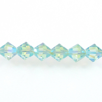 Swarovski Crystal Beads 4mm bicone 5328 chrysolite ab 2X (pale green) transparent double iridescent