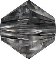 Image Swarovski Crystal Beads 4mm bicone 5328 crystal silver night transparent with fi