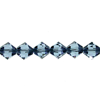 Swarovski Crystal Beads 4mm bicone (5301 and 5328) denim blue transparent